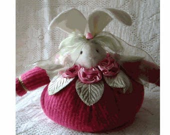 ROLY Poly EASTER Bunny - Rose Pink Chenille with Rose/Pink Ombre Ribbon Roses