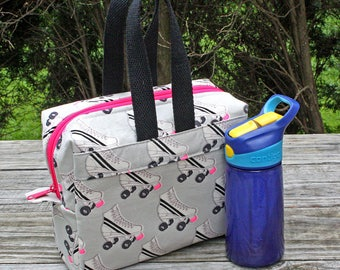 Insulated Lunch Bag Lunch Box Cooler Rectangle Roller Skates Damask Ready To Ship
