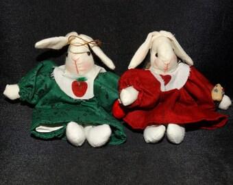 Miniature Russ Easter Bunny Ornament, Magnets, Easter Basket Gift, Decor, Country Rabbits, Primitives, Folk Art White Rabbit, Thumper, Hare