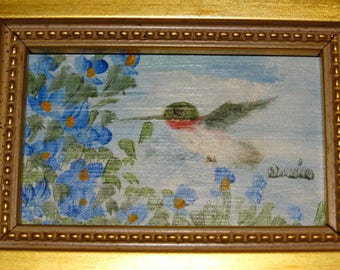 Vintage Miniature Oil Painting, Signed Donna Babin, Hummingbird, Blue Bonnets, Houston Artist