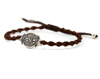 Adjustable Prosperity 72 Names of God Silver Coin Amulet Bracelet in Brown - Adjustable