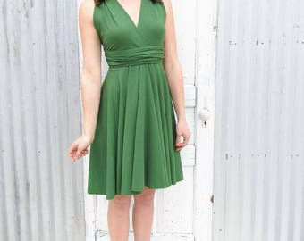Green Infinity Halter Dress - Every Color, Every Size Made to Order - Organic Dress by Yana Dee - Adjustable Bridesmaid Dress -