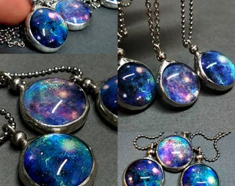 Luminous Nebula Galaxy Necklace Dichroic Glass Pendant Starry Night Outer Space Universe