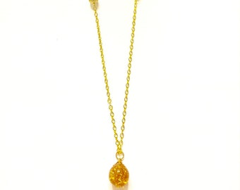 Topaz and Gold Necklace, Ball and Chain Necklace, Vintage Necklace