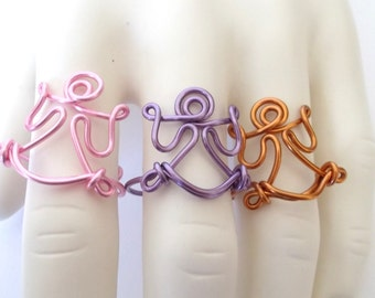Ring, Angel, Faith, Wire Ring, Statement Ring, Adjustable, Custom, Made to Order, Wire, Color, Bold, Wire Jewelry, Handmade