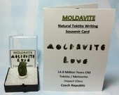 MOLDAVITE Top Quality Tektite Meteorite Impact Glass In Perky Box From Czech Rep. FREE Moldavite Tektite Writing Label And Mini Card