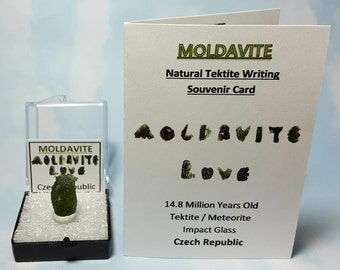 MOLDAVITE Top Quality Tektite Meteorite Impact Glass In Perky Box From Czech Rep. FREE Moldavite Tektite Writing Label And Mini Card