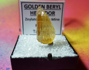 Rare HELIODOR GOLDEN BERYL Natural Bright Yellow Top Quality Double Terminated Collector Crystal In Mineral Specimen Box From Tajikistan
