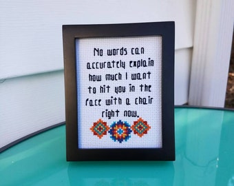Framed Needlepoint - Funny Quote - Small Framed Art - Desk Decor - Cross Stitch Funny - Subversive Stitch - Cubicle Decor - Framed Quotes