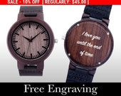 SALE Engraved Watch, Wood Watch, Engraved Wood Watch, Wooden Watch, Ebony Wood, Personalized Gift, Christmas, Gifts For Him