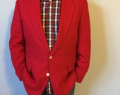Vintage Red Blazer - Mens 44 Long - Lambs Wool and Cashmere Loomed in Italy