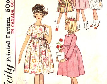 Girl's Dress with Back Zipper Size 10 Simplicity 5429 Vintage Sewing Pattern