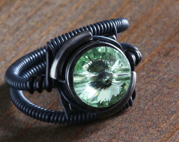 Steampunk black ring with chrysolite green genuine swarovski crystal