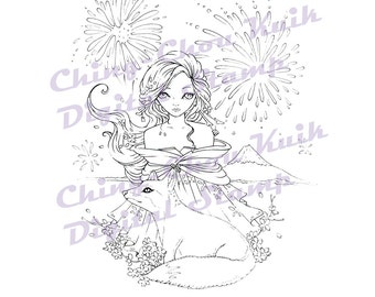 Mount Fuji - Instant Download Digital Stamp / New Year Animal Fox Sakura Fireworks Kimono fairy Girl by Ching-Chou Kuik