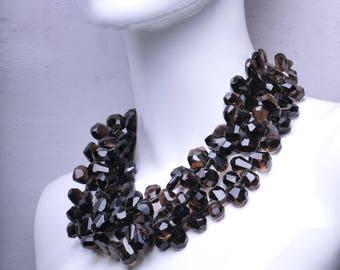 Brown Smoky Quartz Three Strand Gemstone Statement Necklace