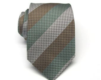 Mens Ties Silver Gray Sage Green Brown Stripes Necktie With Matching Pocket Square Option. Wedding ties.
