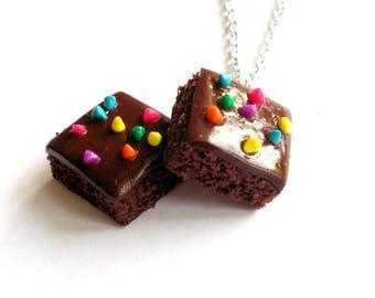 Brownie Necklace, Chocolate Necklace, Cosmic Brownie Charm, Miniature Food Jewelry, Polymer Clay Food Charm, Kawaii Jewelry