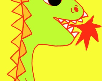 cute dragon  Art Print by Giraffes and Robots