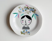 Girl illustrated vintage plate