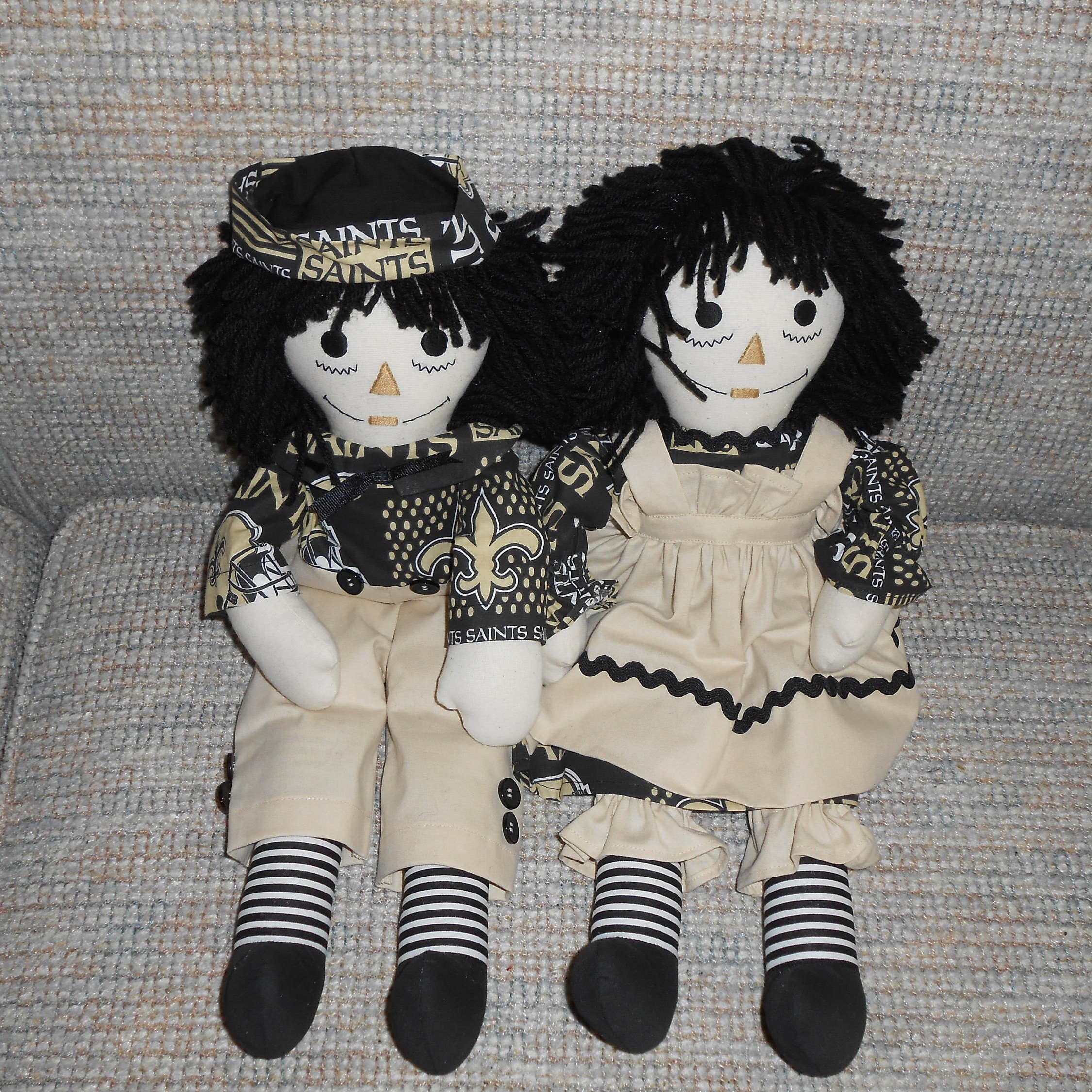 20 inch new orleans saints raggedy ann and andy dolls