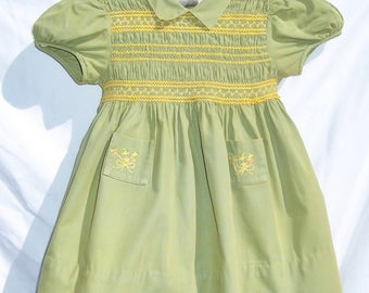 Vintage Smocked Baby Dress NANETTE 50s Green Yellow Embroidery 2/3T