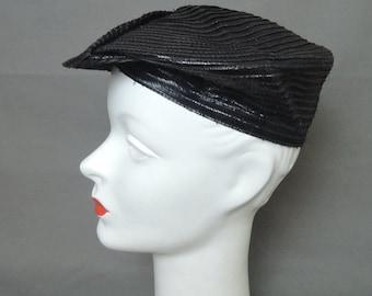 Vintage Black Hat Black Pancake Hat, fits 21 inch head, 1950s