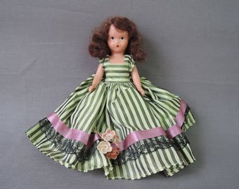Vintage Nancy Ann Storybook Doll, 6 inches, Original Green Striped Dress, Hard Plastic with Jointed Arms & Legs