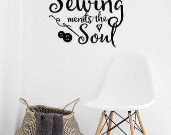 Wall Decals Craft Room Decor, Sewing Mends The Soul Vinyl Wall Decal, Sewing Decals, Sewing Room Decals for seamstress, gifts for quilters