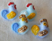 Set of 4 VINTAGE Realistic Painted Rooster or Chicken Glass BUTTONS