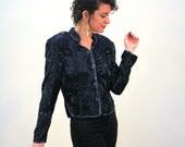 Leone, Black Beaded Jacket, 80s Beaded Top M, Elegant Evening Jacket, Silk Beaded Jacket, Glam Deco Jacket, Papell Boutique Beaded Blouse