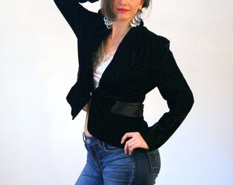 Another Thyme, 70s Black Velvet Jacket, Rayon Velvet Jacket, 40s Style Jacket, Artsy Black Jacket, Velvet Hipster Jacket, L