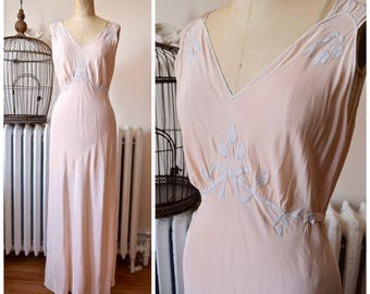 1930s | Pandora Gown | Vintage 30s Bias Nightgown Peachy Pink Rayon Silk with Delicate Bow Self Tie - Long Glamorous Length - Bust 36""