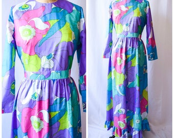 Poesies | Vintage 1970's Maxi Dress Colorful Large Floral Long Sleeves Shirred Waist Ruffled Hem Size M