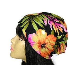 Tropical Print Hat Floral Hat Lightweight Hat Lightweight Slouch Hat Floral Slouchy Beanie Floral Slouch Hat Summer Slouchy Beanie Hat
