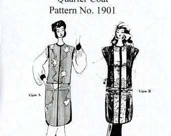 Carol Lane-Saber Designs 1901 Quarter Coat Vest Jacket Wearable Art Quilted Japanese Influence Size Small to XXXL Uncut Sewing Pattern