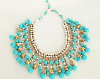 Vintage Turquoise Blue, Pearl and Golden Bead Dangling Necklace