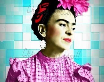 Frida Kahlo Art Poster Print Lomo Instant Digital Download All Sizes Floral Headpiece Vintage Modern Home Deco Best Selling Items