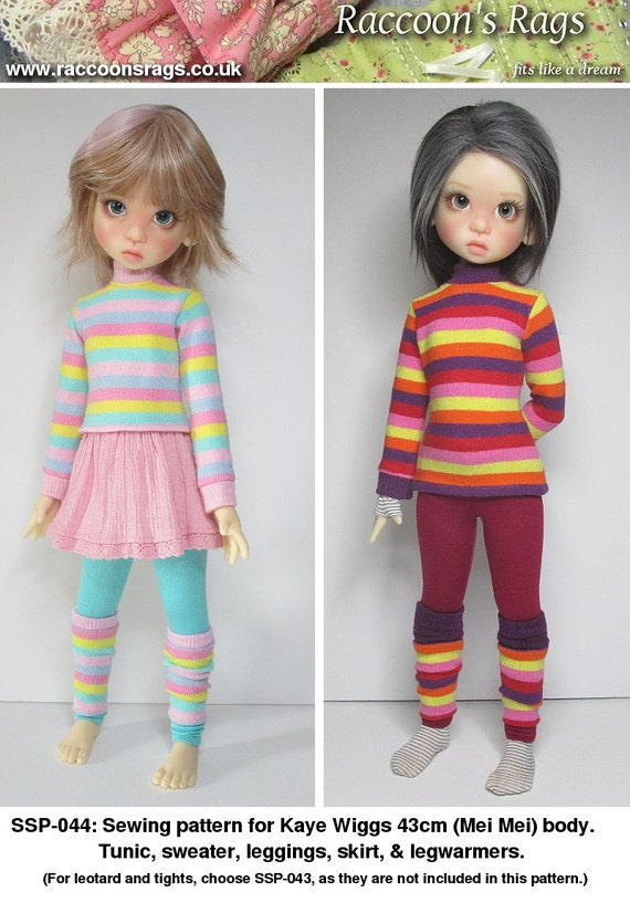 STRAIGHTFORWARD SEWING Pattern SSP-044: Sweater outfit for Kaye Wiggs dolls.  (43cm Mei Mei) 2 sweaters, leggings, skirt, & legwarmers.