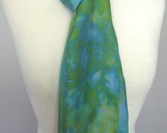 "Hand Dyed Silk Infinity Scarf - 11 x 76"", Blue and Turquoise with Splashes of Chartreuse - Long Infinity Loop"