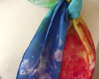 "Hand Dyed Silk Neck Scarf, 8x54"" -  Bright Rainbow Asymmetric Colors, Turquoise, Blue, Fuschia, Yellow, Green"