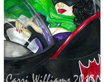 Catwoman Autoportrait Batman Batmobile villain Comic Book Print