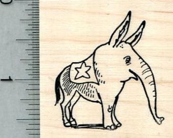Election Rubber Stamp, Donkey Elephant Hybrid, Democrat, Republican E32017 Wood Mounted