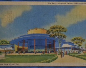 Postcard Borden Company Rotolactor New York World's Fair 1939 Postmark Linen