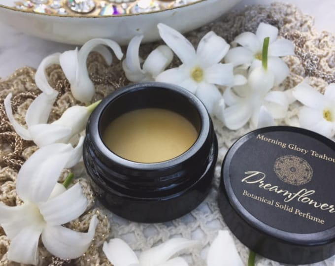 Dreamflower Botanical Solid Cream Perfume ~  mystical, nectarous Jasmine with delicious citrus and sweet vanilla & amber notes, euphoric
