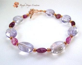 Pink Amethyst Gemstone Bracelet, Rose & Purple Tourmaline, Copper Toggle Clasp, February Birthstone Gift for Women, Semi Precious Stone B537