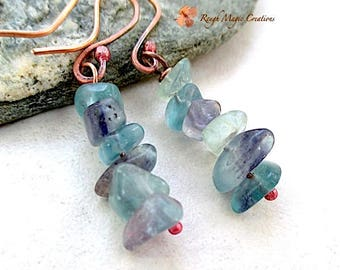 Rainbow Flourite Earrings Blue Green Aqua, Purple Lavender, Sea Green Gemstone Stacked Stone Chips Dangle Drops, Copper, Spring Colors E482