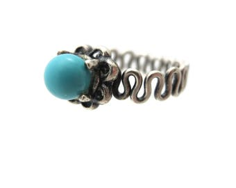 Sterling Silver Turquoise Ring - Wavy Band, Turquoise Jewelry