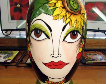 Ceramic VASE XL Women's Impressionistic Modern Faces with Poppy and Sunflower Hand painted on Etsy