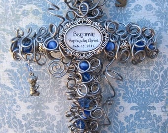 Baptism Gift Cross for Boy - Confirmation Gift Cross for Boy - Baptized in Christ - Confirmed in Christ - Personalized Baptism - Blue Cross