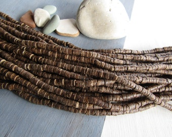 Brown Coconut Beads , Rondelle heishi discs,  brown , exotic natural supplies    2 to 5 mm x 5 mm ( 1 strand 22 inches ) 6ph3